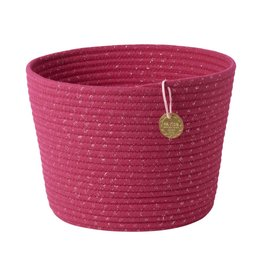 Rice Round Rope Storage Basket Fuchsia