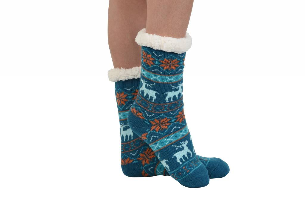 Snoozies Non Pom Sherpa Lined Knit Socks Blue