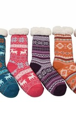 Snoozies Non Pom Sherpa Lined Knit Socks Grey