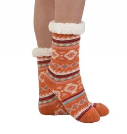 Snoozies Non Pom Sherpa Lined Knit Socks Orange