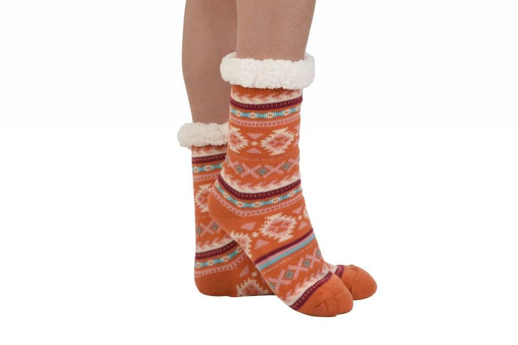 Snoozies Non Pom Sherpa Lined Knit Socks Orange