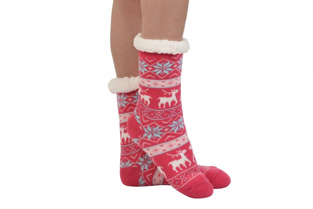 Snoozies Non Pom Sherpa Lined Knit Socks Pink
