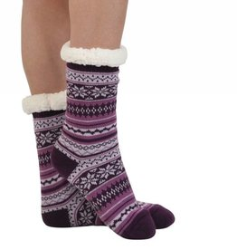 Snoozies Non Pom Sherpa Lined Knit Socks Purple