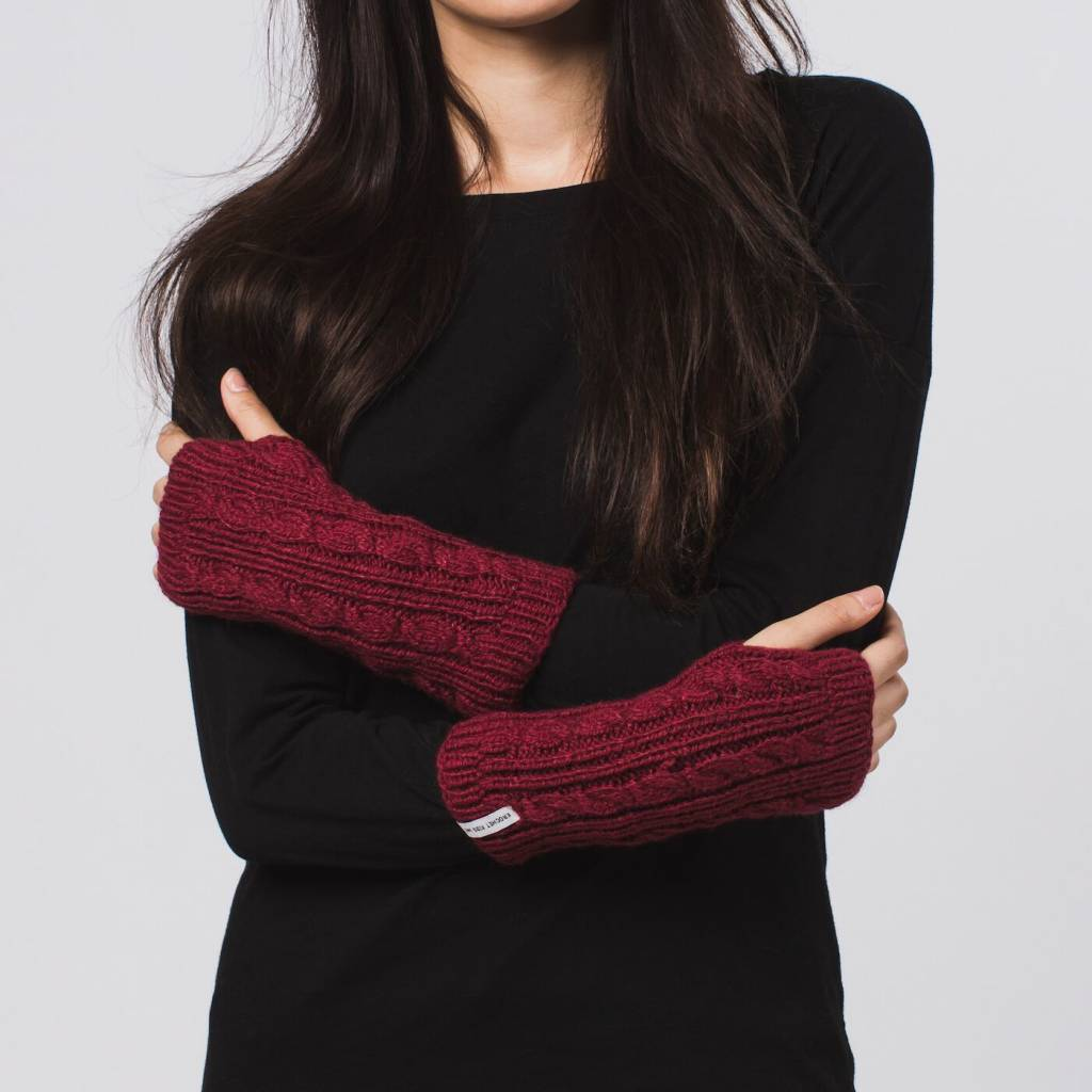 Krochet Kids Cable Knit Gloves Wine