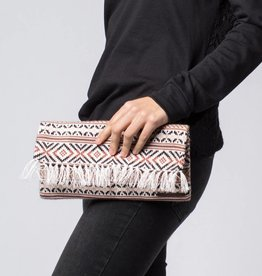 Krochet Kids Knit Clutch with Fringe Pale Pink