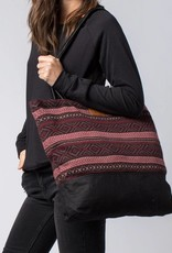 Krochet Kids Tote Bag with Knit Panel Black/Wine