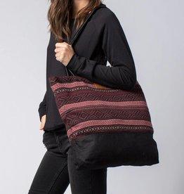 Krochet Kids Tote Bag with Knit Panel Black/Wine