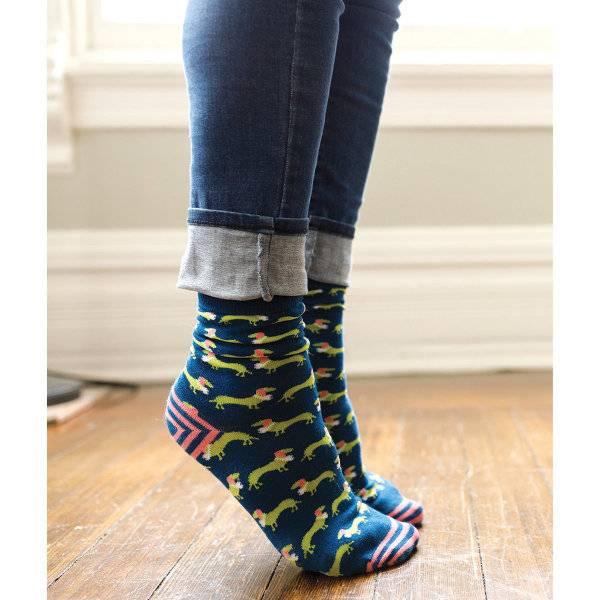 Rockflowerpaper Dachshund Navy Pair of Socks