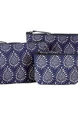Rockflowerpaper Delphine Navy cosmetic bag set of 3