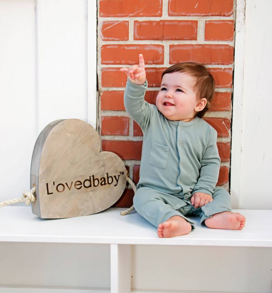 Loved baby Organic Long-Sleeve Overall Seafoam