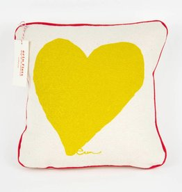 "Erin Flett Pillow Heart 10"" Golden Rod W/ Red Pipping"