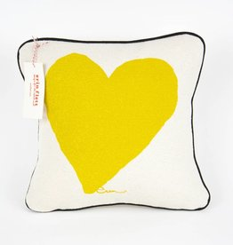"Erin Flett Pillow Heart 10"" Golden Rod W/ Black Pipping"