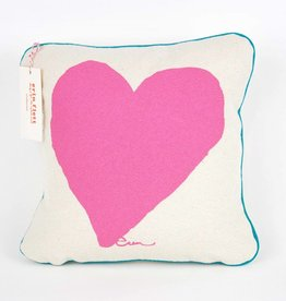 "Erin Flett Pillow Heart 10"" Hot Pink W/ Light Blue Pipping"