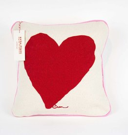 "Erin Flett Pillow Heart 10"" Red W/ Pink Pipping"
