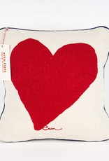 "Erin Flett Pillow Heart 10"" Red W/ Dark Blue Piping"