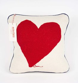 "Erin Flett Pillow Heart 10"" Red W/ Dark Blue Pipping"