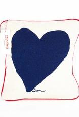 """Erin Flett Pillow Heart 10"""" Navy W/ Red Piping"""