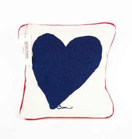 "Erin Flett Pillow Heart 10"" Navy W/ Red Pipping"