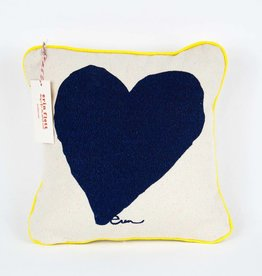"Erin Flett Pillow Heart 10"" Navy W/ Yellow Pipping"
