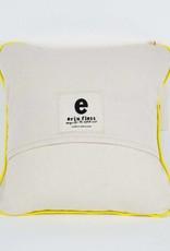 """Erin Flett Pillow Heart 10"""" Navy W/ Yellow Piping"""