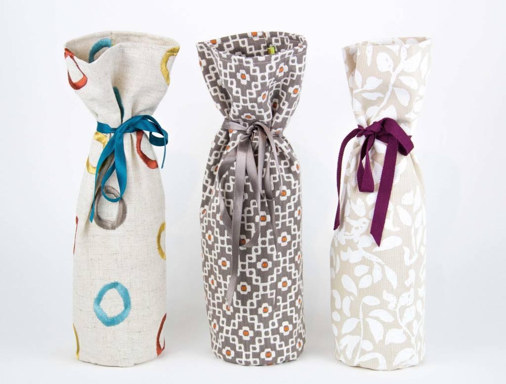 Kreatelier Bottle Gift Bag Cream Leaves