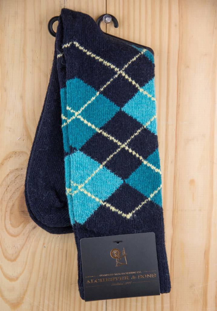 Alchester & Sons Agosto Argyle Socks Navy