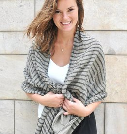 Paisley Road Knit Stripe Scarf Taupe/Black
