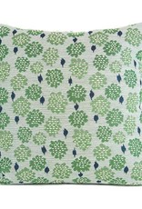 "Kreatelier Square Pillow 18""x18"" Green Flowers/Velvet Blue Back"