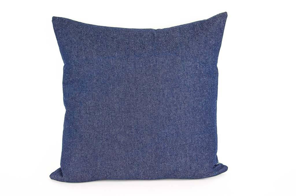 "Kreatelier Square Pillow 18""x18"" Green Flowers/Blue Jeans Back"