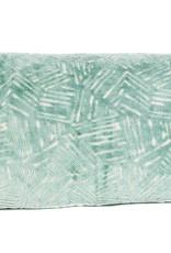 """Kreatelier Rectangular Pillow 11""""x21"""" Aqua Raised Velvet"""