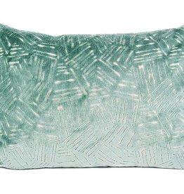 """Kreatelier Rectangular Pillow 15""""x22"""" Aqua Raised Velvet"""