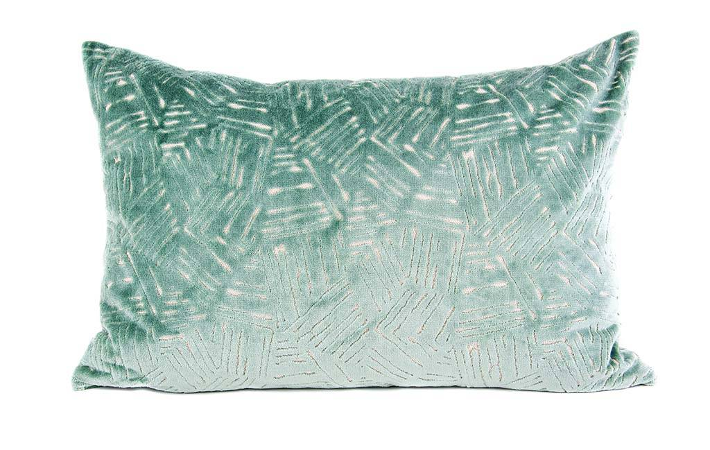 "Kreatelier Rectangular Pillow 15""x22"" Aqua Raised Velvet"