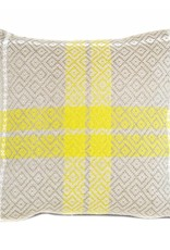 """Kreatelier Square Pillow 16""""x16"""" Chartreuse Taupe Plaid/Taupe Linen Back"""