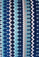 """Kreatelier Rectangular Pillow 11""""x18"""" Blue Moroccan Stripes/Velvet Blue Back"""
