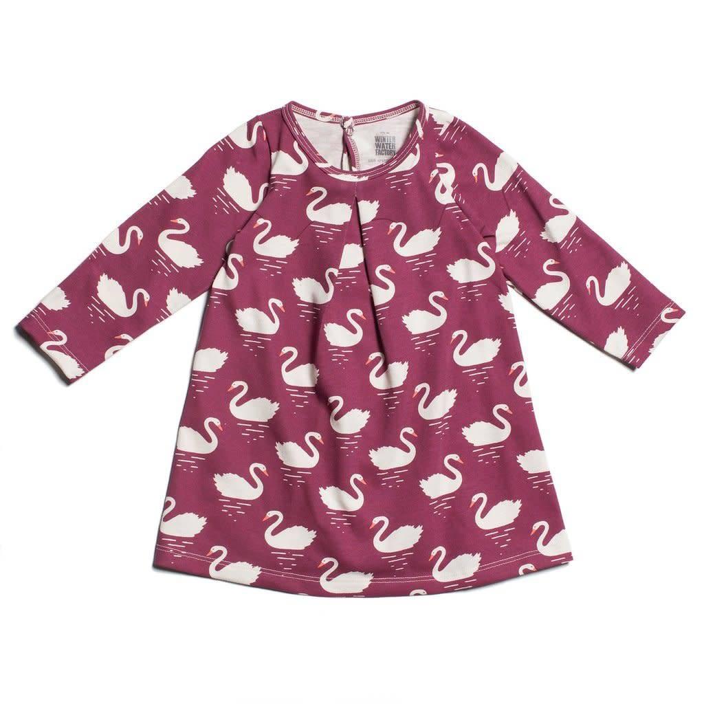 Winter Water Factory Aspen Baby Dress Swans Bordeaux