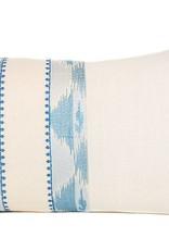 """Kreatelier Rectangular Pillow 15""""x22"""" Beige and Blue"""
