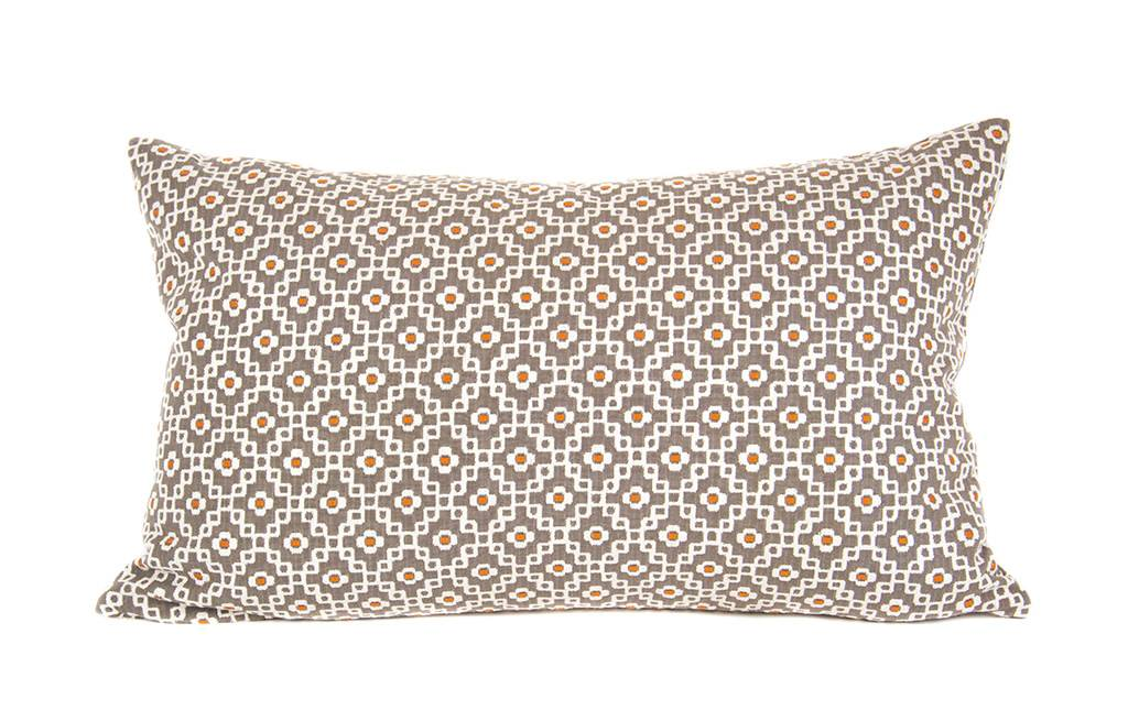 "Kreatelier Rectangular Pillow 15""x22"" Orange and Brown"