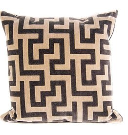 "Kreatelier Square Pillow 18""x18"" Brown/Beige"