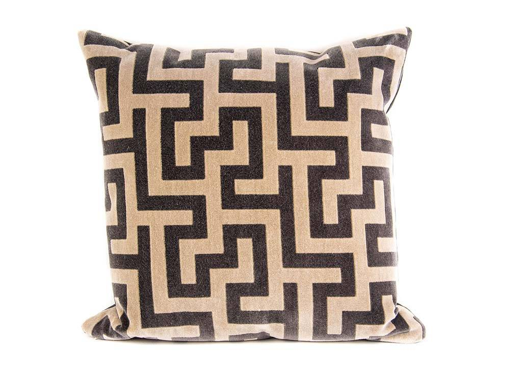 "Kreatelier Square Pillow 18""x18"" Brown/Beige"