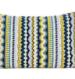 """Kreatelier Rectangular Pillow 15""""x22"""" Gold Blue Zigzag"""
