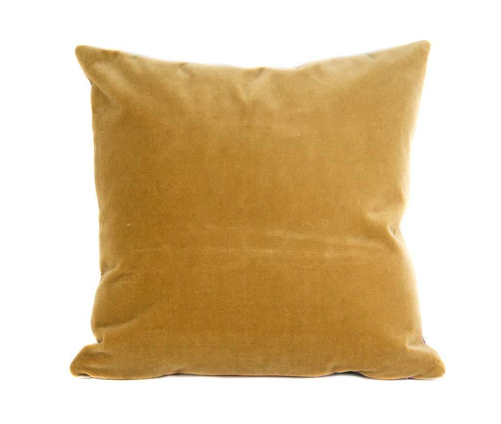 """Kreatelier Square Pillow 16""""x16"""" Multicolor Velvet Gold Back"""