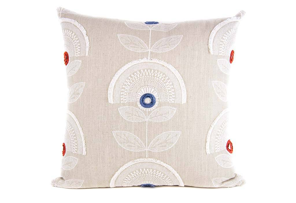 "Kreatelier Square Pillow 18""x18"" White Embroidered Flowers"