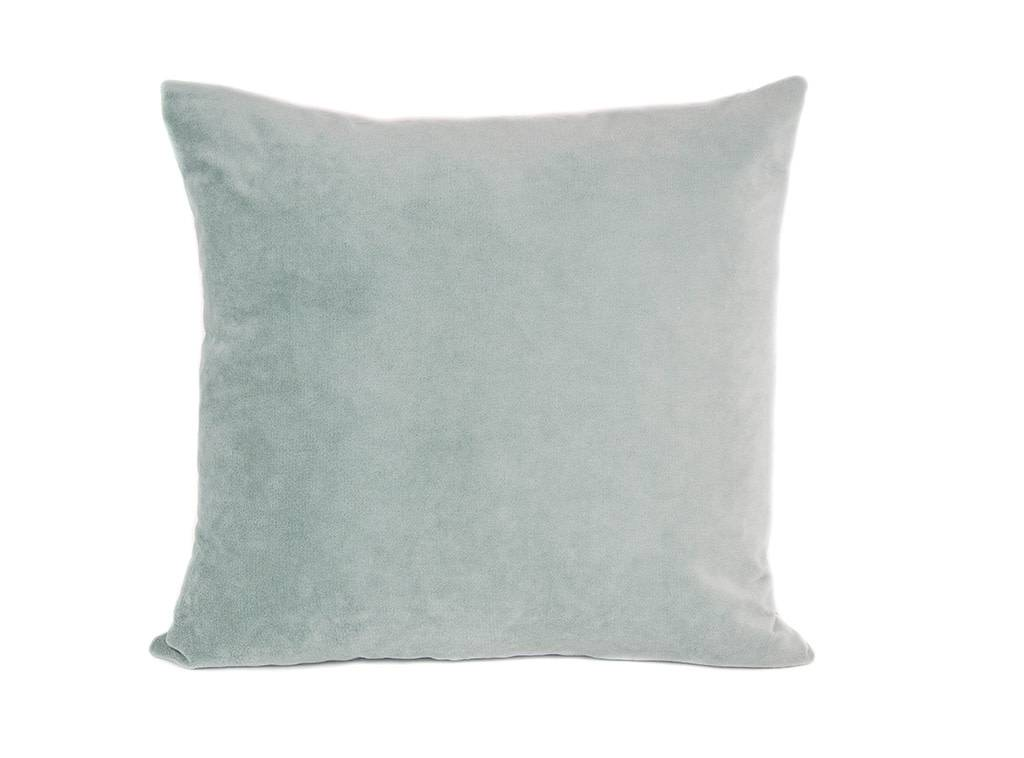 """Kreatelier Square Pillow 18""""x18"""" Birds and Flowers /Aqua Velvet Back"""