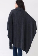Mer Sea Turtleneck Poncho Travel Sweater OS Storm