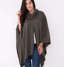 Mer Sea Turtleneck Poncho Travel Sweater OS Moss