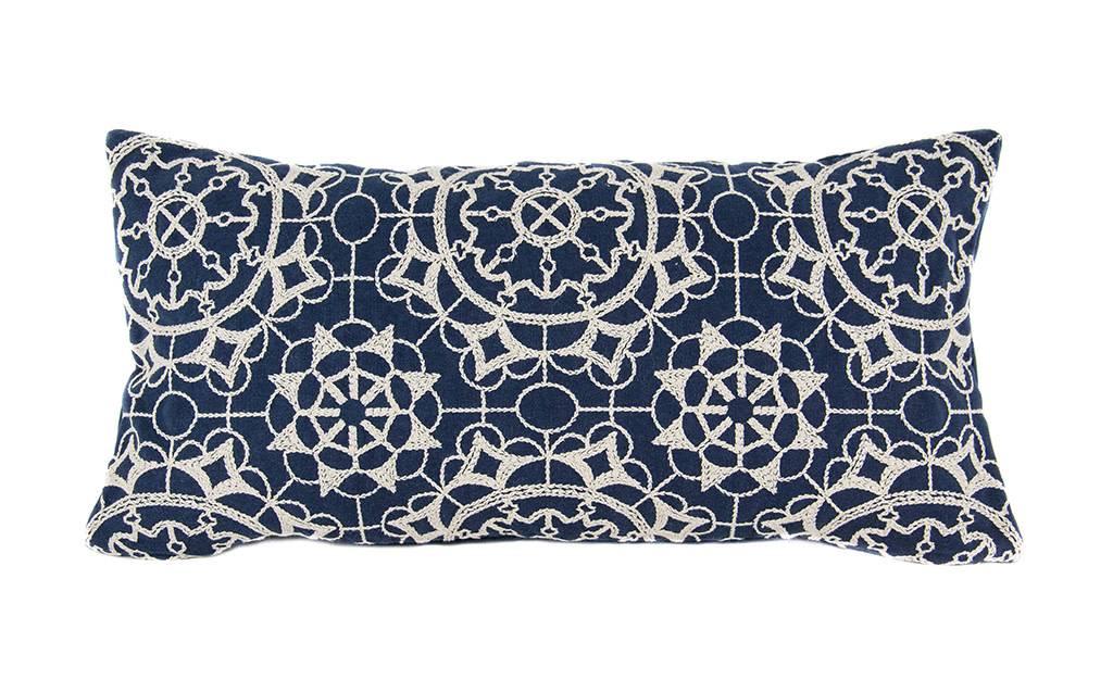 """Kreatelier Rectangular Pillow 11""""x21"""" Embroidered Navy/Blue Velvet Back"""