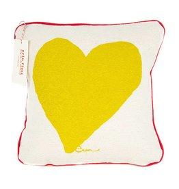"""Erin Flett Pillow Heart 10"""" Golden Rod W/ Red Piping"""