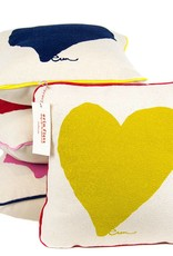 "Erin Flett Pillow Heart 10"" Golden Rod W/ Red Piping"