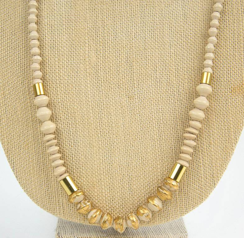 31Bits Necklace Dipped Ribbon Cream/Gold