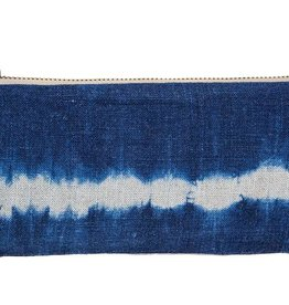 Gray Green Goods Indigo Shibori Pencil Case Stripe